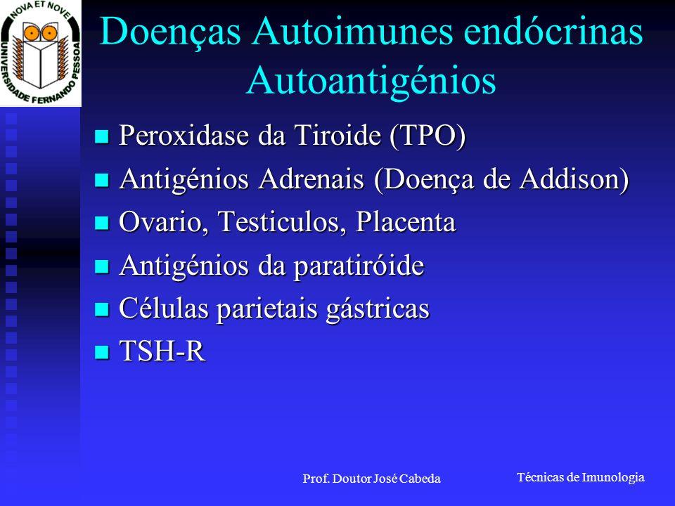 Técnicas de Imunologia Prof. Doutor José Cabeda Doenças Autoimunes endócrinas Autoantigénios Peroxidase da Tiroide (TPO) Peroxidase da Tiroide (TPO) A
