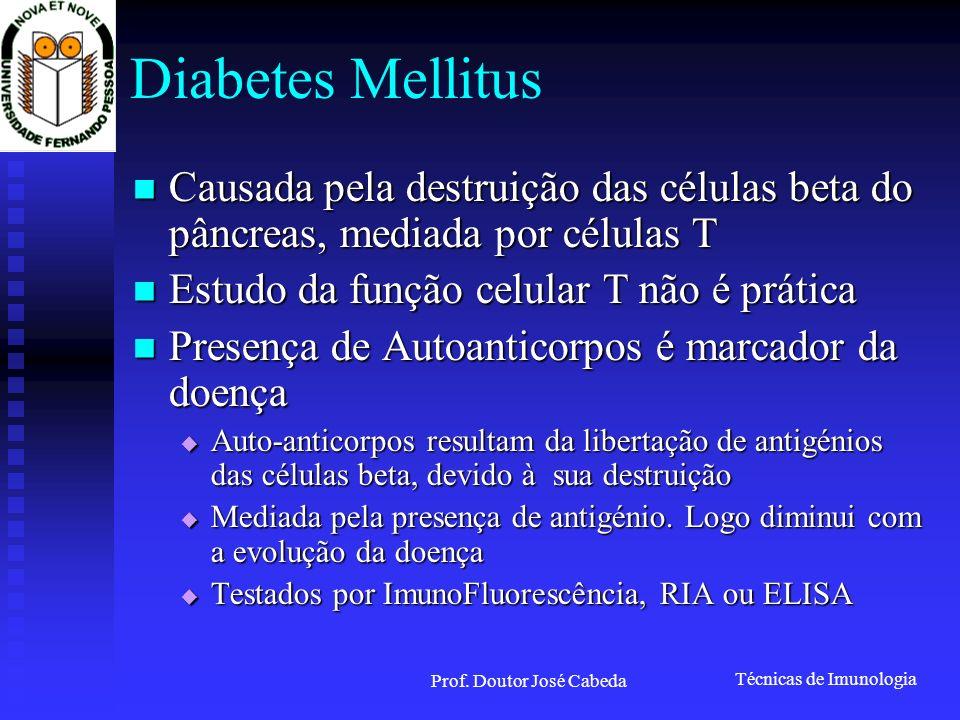Técnicas de Imunologia Prof. Doutor José Cabeda Diabetes Mellitus Causada pela destruição das células beta do pâncreas, mediada por células T Causada