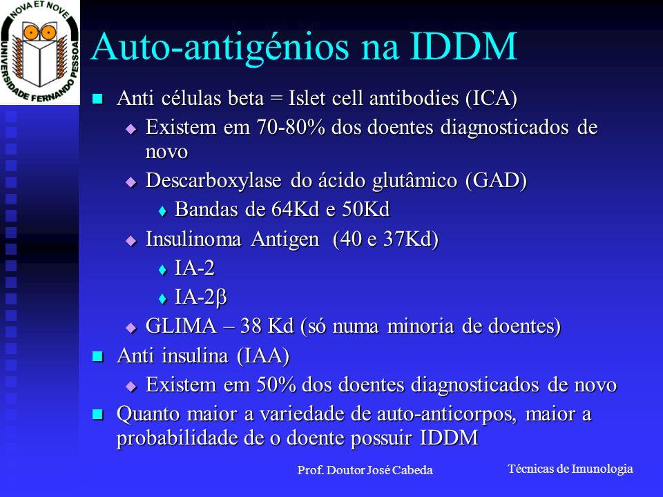 Técnicas de Imunologia Prof. Doutor José Cabeda Auto-antigénios na IDDM Anti células beta = Islet cell antibodies (ICA) Anti células beta = Islet cell