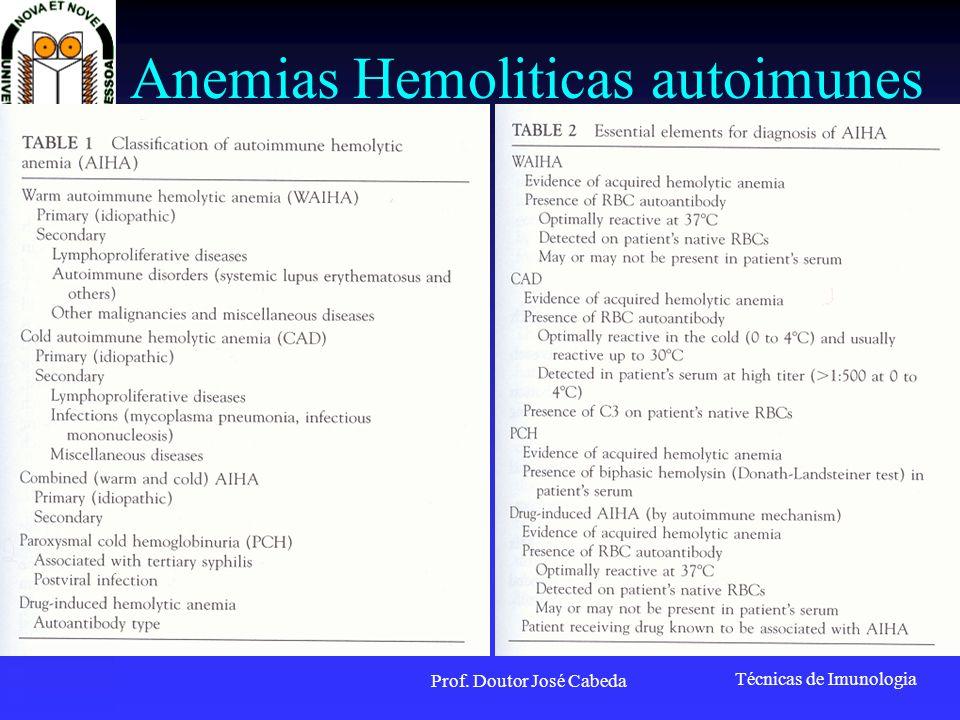 Técnicas de Imunologia Prof. Doutor José Cabeda Anemias Hemoliticas autoimunes