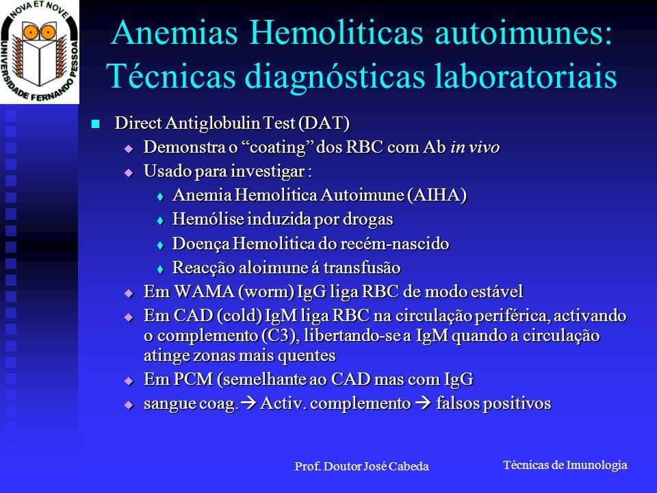 Técnicas de Imunologia Prof. Doutor José Cabeda Anemias Hemoliticas autoimunes: Técnicas diagnósticas laboratoriais Direct Antiglobulin Test (DAT) Dir