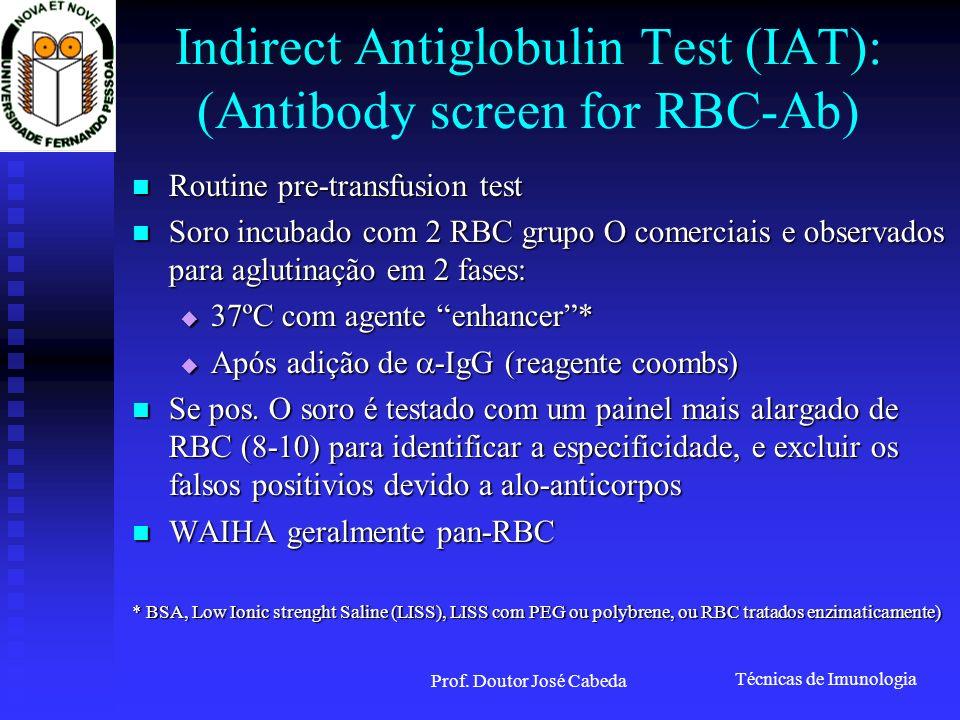 Técnicas de Imunologia Prof. Doutor José Cabeda Indirect Antiglobulin Test (IAT): (Antibody screen for RBC-Ab) Routine pre-transfusion test Routine pr
