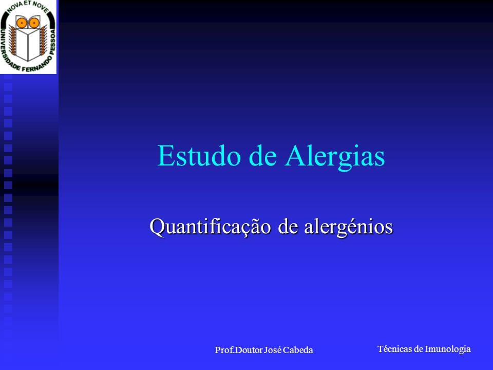 Técnicas de Imunologia Prof.Doutor José Cabeda Estudo de Alergias Quantificação de alergénios