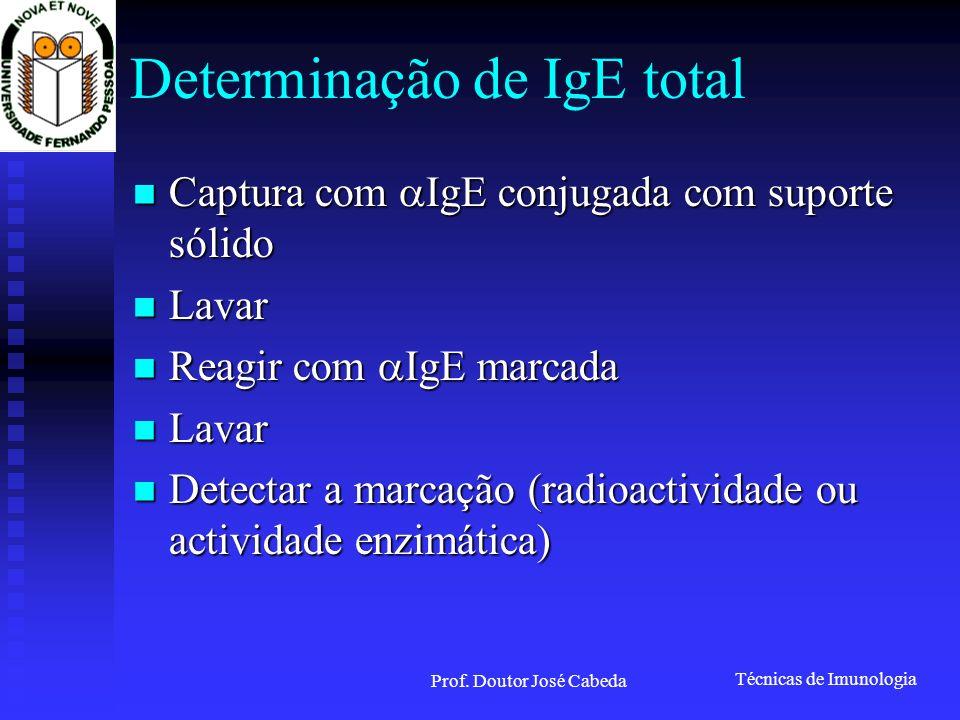 Técnicas de Imunologia Prof. Doutor José Cabeda Determinação de IgE total Captura com IgE conjugada com suporte sólido Captura com IgE conjugada com s