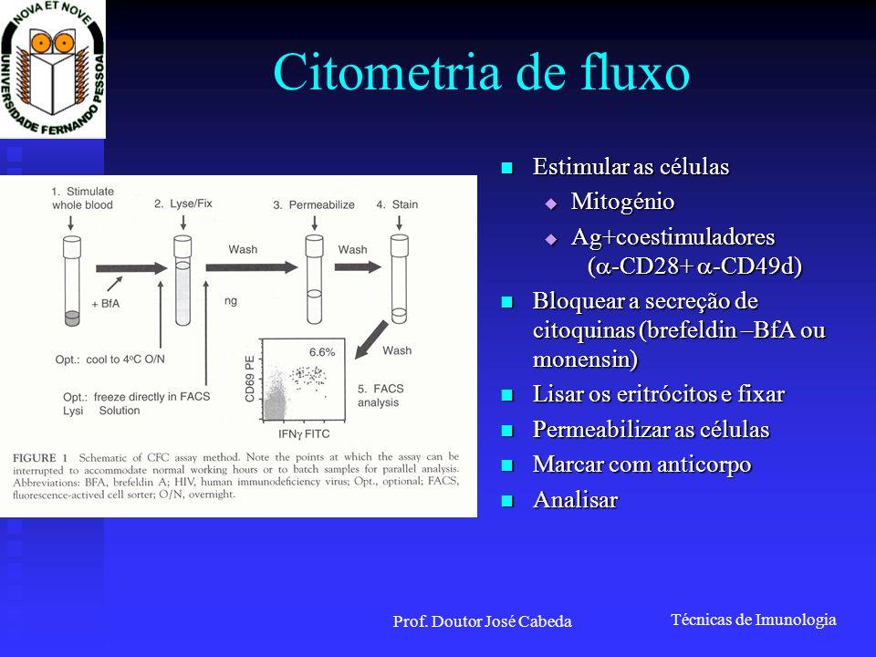 Técnicas de Imunologia Prof. Doutor José Cabeda Citometria de fluxo Estimular as células Estimular as células Mitogénio Mitogénio Ag+coestimuladores (