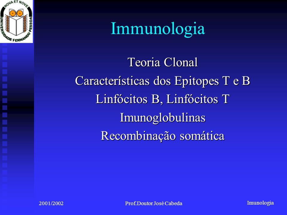 Imunologia 2001/2002Prof.Doutor José Cabeda Immunologia Teoria Clonal Características dos Epitopes T e B Linfócitos B, Linfócitos T Imunoglobulinas Recombinação somática