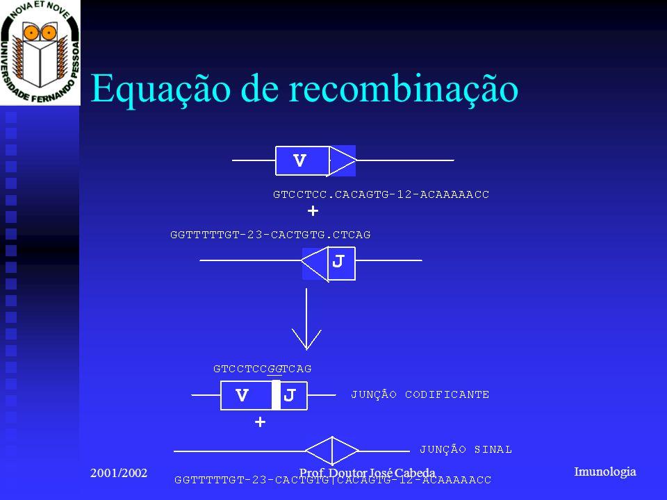 Imunologia 2001/2002Prof. Doutor José Cabeda Equação de recombinação