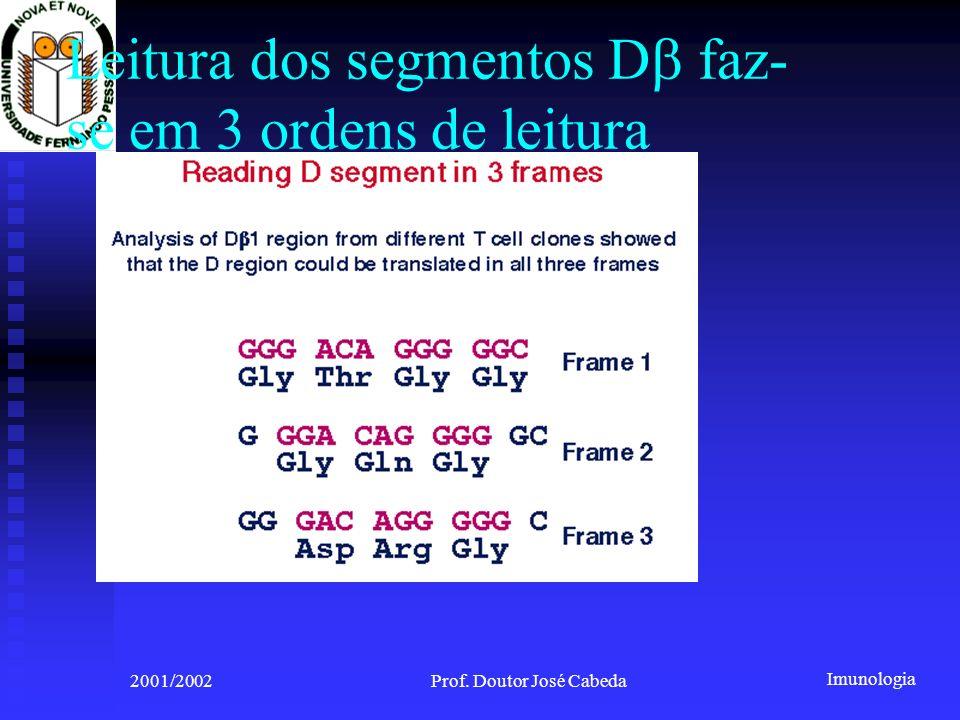 Imunologia 2001/2002Prof. Doutor José Cabeda Leitura dos segmentos D faz- se em 3 ordens de leitura