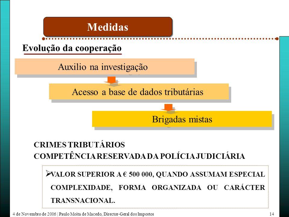 4 de Novembro de 2006 | Paulo Moita de Macedo, Director-Geral dos Impostos14 Auxilio na investigação Acesso a base de dados tributárias Brigadas mistas Evolução da cooperação Medidas CRIMES TRIBUTÁRIOS COMPETÊNCIA RESERVADA DA POLÍCIA JUDICIÁRIA VALOR SUPERIOR A 500 000, QUANDO ASSUMAM ESPECIAL COMPLEXIDADE, FORMA ORGANIZADA OU CARÁCTER TRANSNACIONAL.
