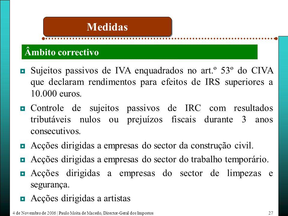 4 de Novembro de 2006 | Paulo Moita de Macedo, Director-Geral dos Impostos27 Sujeitos passivos de IVA enquadrados no art.º 53º do CIVA que declaram rendimentos para efeitos de IRS superiores a 10.000 euros.