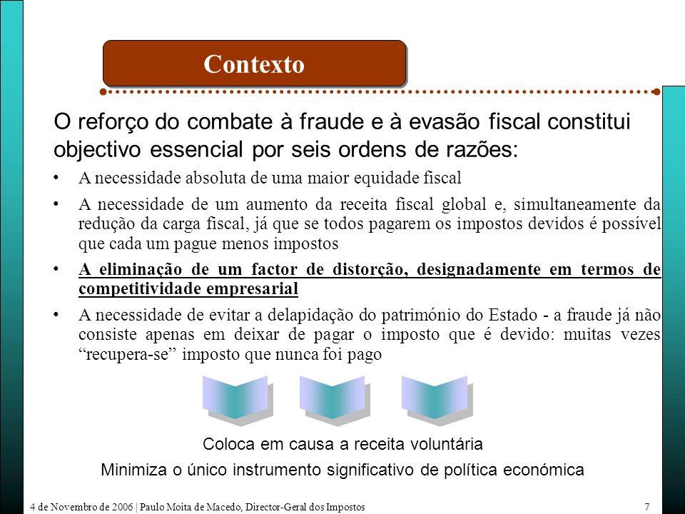4 de Novembro de 2006   Paulo Moita de Macedo, Director-Geral dos Impostos18 Evolução das declarações submetidas pela Internet Alargamento de serviços on-line Evolução do número de utilizadores Medidas
