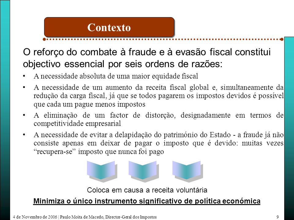 4 de Novembro de 2006   Paulo Moita de Macedo, Director-Geral dos Impostos30 * Estimativa Valores em milhões de euros Var.