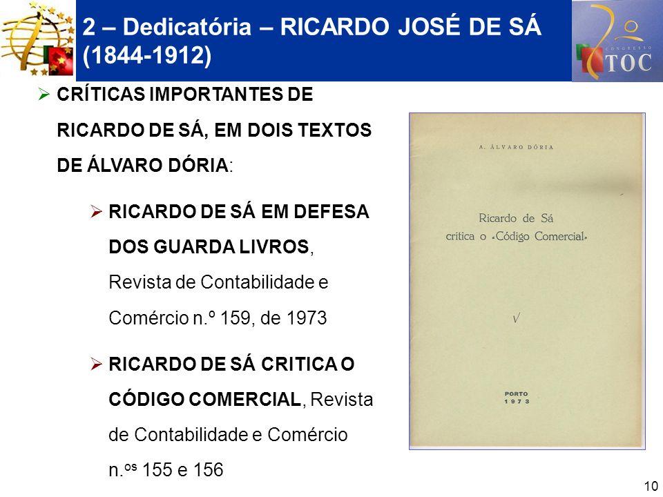 10 2 – Dedicatória – RICARDO JOSÉ DE SÁ (1844-1912) CRÍTICAS IMPORTANTES DE RICARDO DE SÁ, EM DOIS TEXTOS DE ÁLVARO DÓRIA: RICARDO DE SÁ EM DEFESA DOS