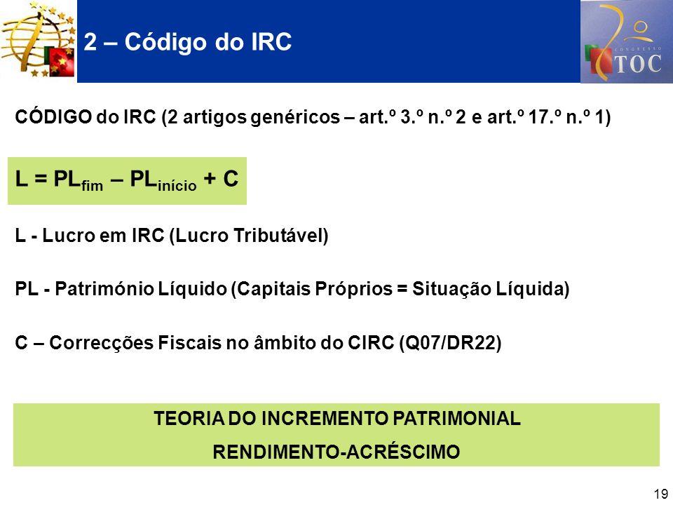 19 CÓDIGO do IRC (2 artigos genéricos – art.º 3.º n.º 2 e art.º 17.º n.º 1) L = PL fim – PL início + C L - Lucro em IRC (Lucro Tributável) PL - Patrim