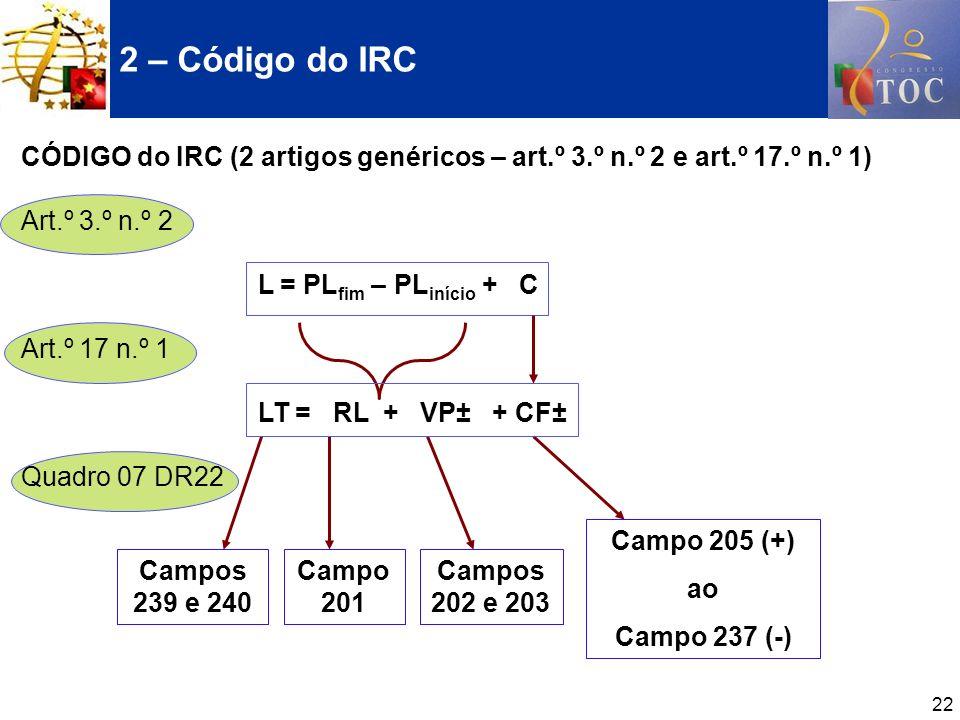 22 CÓDIGO do IRC (2 artigos genéricos – art.º 3.º n.º 2 e art.º 17.º n.º 1) Art.º 3.º n.º 2 L = PL fim – PL início + C Art.º 17 n.º 1 LT = RL + VP± +