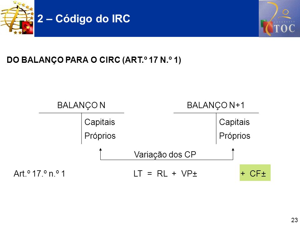 23 Art.º 17.º n.º 1 LT = RL + VP± + CF± 2 – Código do IRC DO BALANÇO PARA O CIRC (ART.º 17 N.º 1) BALANÇO N Capitais Próprios BALANÇO N+1 Capitais Pró