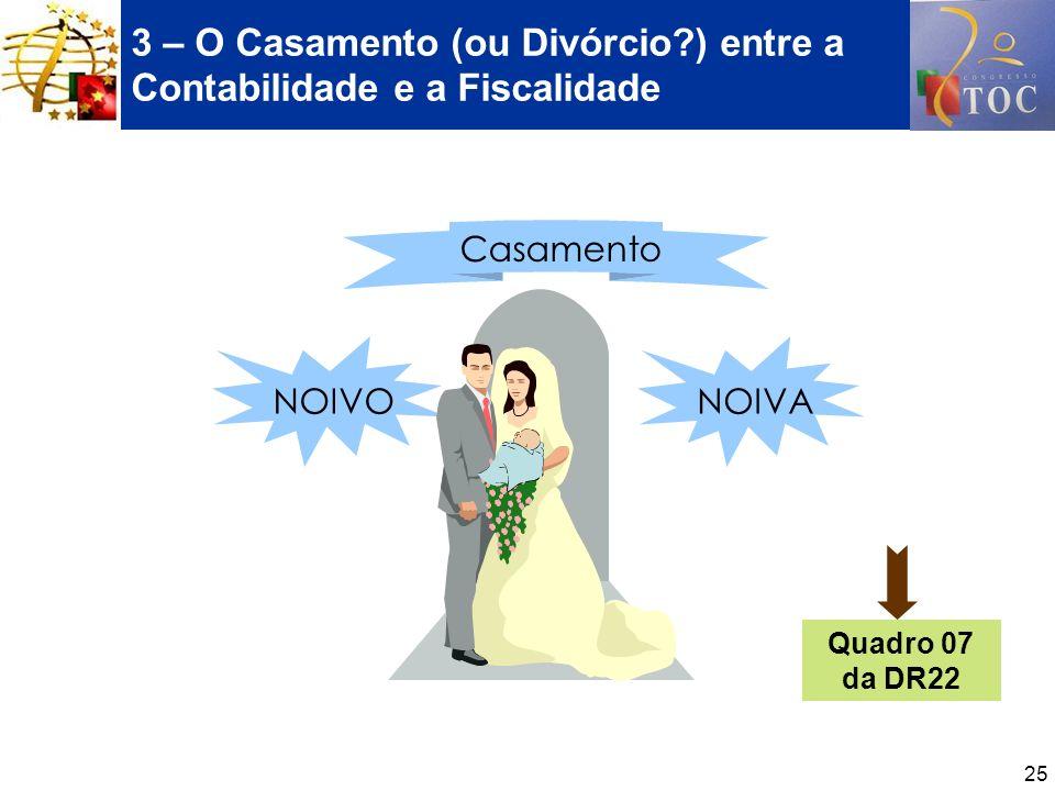 25 3 – O Casamento (ou Divórcio?) entre a Contabilidade e a Fiscalidade NOIVONOIVA Casamento Quadro 07 da DR22