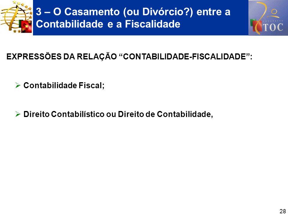 28 3 – O Casamento (ou Divórcio?) entre a Contabilidade e a Fiscalidade EXPRESSÕES DA RELAÇÃO CONTABILIDADE-FISCALIDADE: Contabilidade Fiscal; Direito