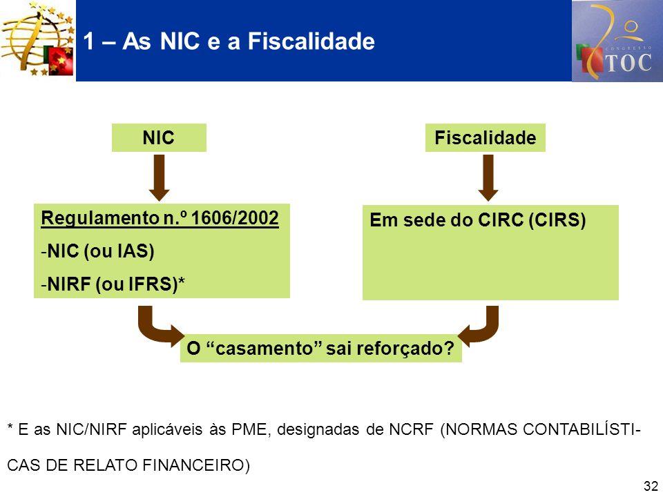 32 1 – As NIC e a Fiscalidade * E as NIC/NIRF aplicáveis às PME, designadas de NCRF (NORMAS CONTABILÍSTI- CAS DE RELATO FINANCEIRO) NICFiscalidade Reg