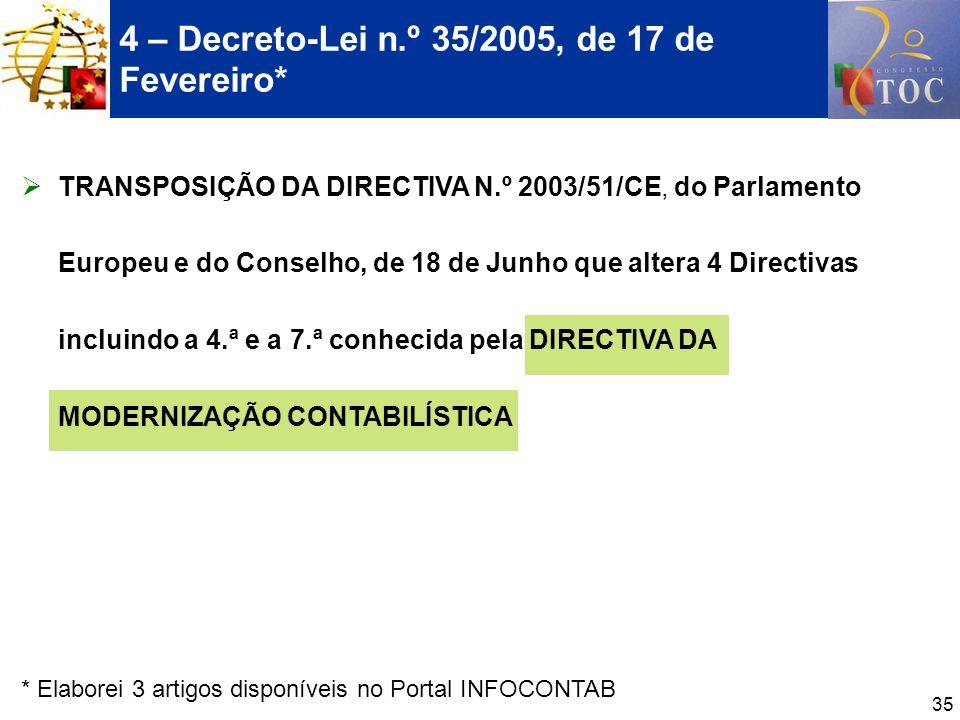 35 4 – Decreto-Lei n.º 35/2005, de 17 de Fevereiro* TRANSPOSIÇÃO DA DIRECTIVA N.º 2003/51/CE, do Parlamento Europeu e do Conselho, de 18 de Junho que