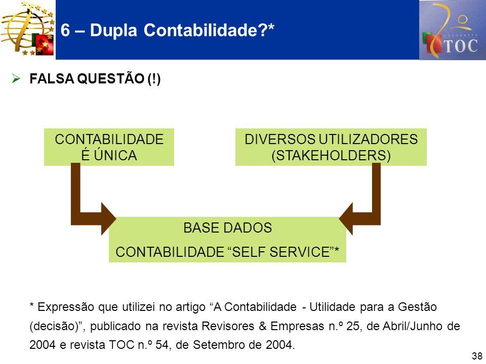 38 FALSA QUESTÃO (!) * Expressão que utilizei no artigo A Contabilidade - Utilidade para a Gestão (decisão), publicado na revista Revisores & Empresas