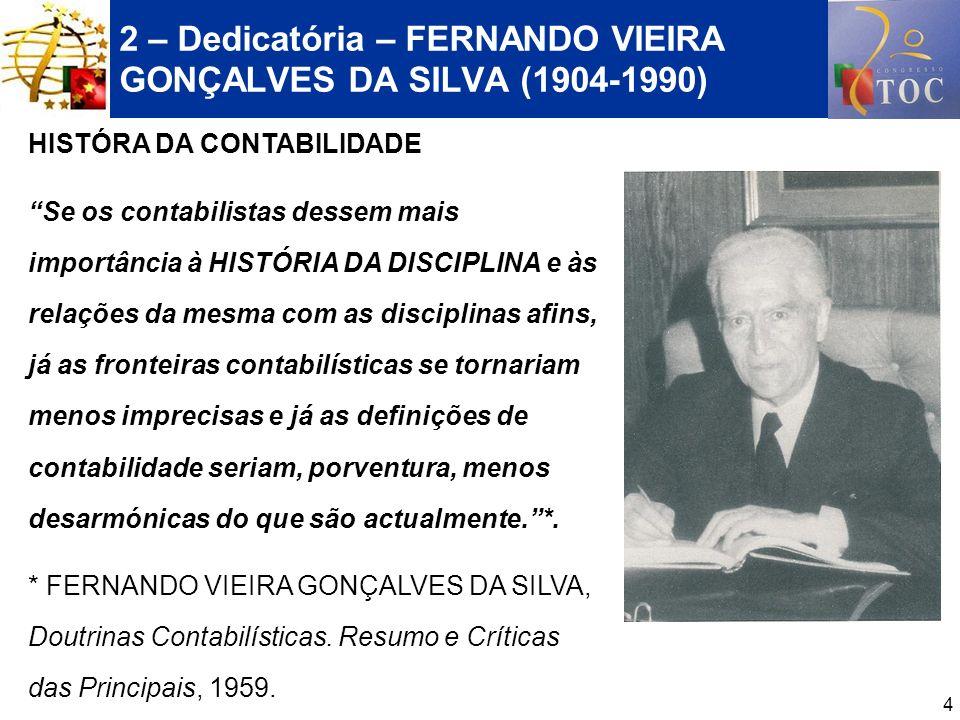 4 2 – Dedicatória – FERNANDO VIEIRA GONÇALVES DA SILVA (1904-1990) HISTÓRA DA CONTABILIDADE Se os contabilistas dessem mais importância à HISTÓRIA DA