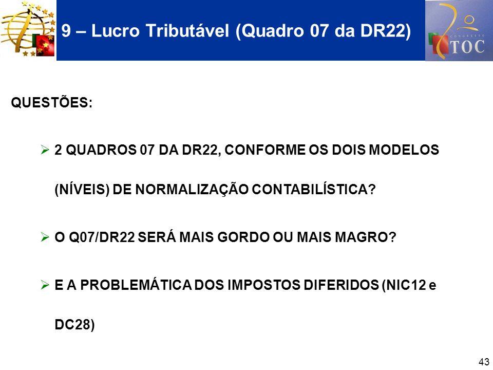 43 9 – Lucro Tributável (Quadro 07 da DR22) QUESTÕES: 2 QUADROS 07 DA DR22, CONFORME OS DOIS MODELOS (NÍVEIS) DE NORMALIZAÇÃO CONTABILÍSTICA? O Q07/DR