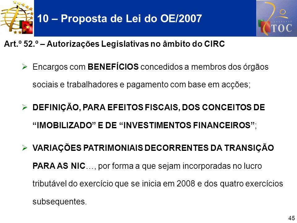 45 10 – Proposta de Lei do OE/2007 Art.º 52.º – Autorizações Legislativas no âmbito do CIRC Encargos com BENEFÍCIOS concedidos a membros dos órgãos so