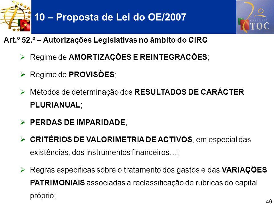 46 10 – Proposta de Lei do OE/2007 Art.º 52.º – Autorizações Legislativas no âmbito do CIRC Regime de AMORTIZAÇÕES E REINTEGRAÇÕES; Regime de PROVISÕE
