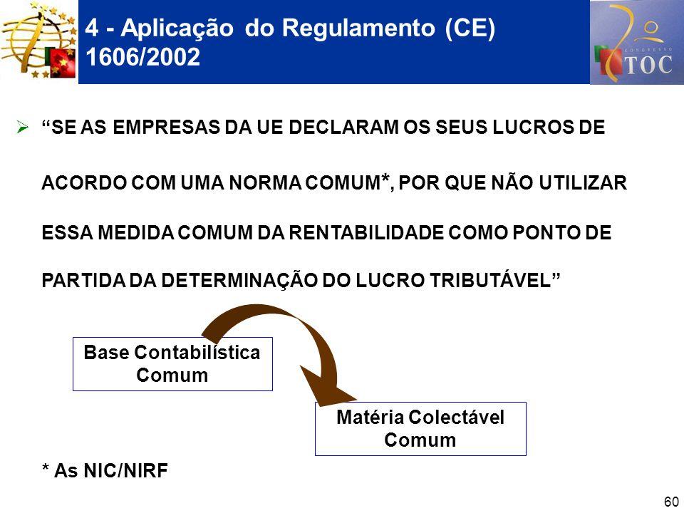 60 4 - Aplicação do Regulamento (CE) 1606/2002 SE AS EMPRESAS DA UE DECLARAM OS SEUS LUCROS DE ACORDO COM UMA NORMA COMUM *, POR QUE NÃO UTILIZAR ESSA