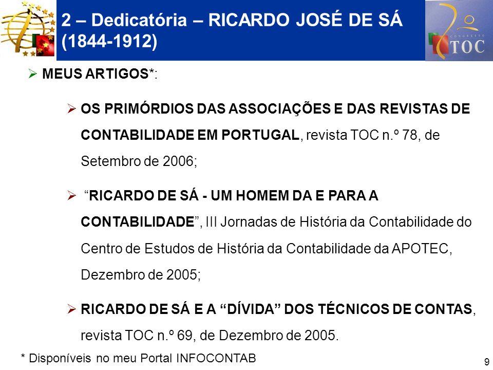 10 2 – Dedicatória – RICARDO JOSÉ DE SÁ (1844-1912) CRÍTICAS IMPORTANTES DE RICARDO DE SÁ, EM DOIS TEXTOS DE ÁLVARO DÓRIA: RICARDO DE SÁ EM DEFESA DOS GUARDA LIVROS, Revista de Contabilidade e Comércio n.º 159, de 1973 RICARDO DE SÁ CRITICA O CÓDIGO COMERCIAL, Revista de Contabilidade e Comércio n.