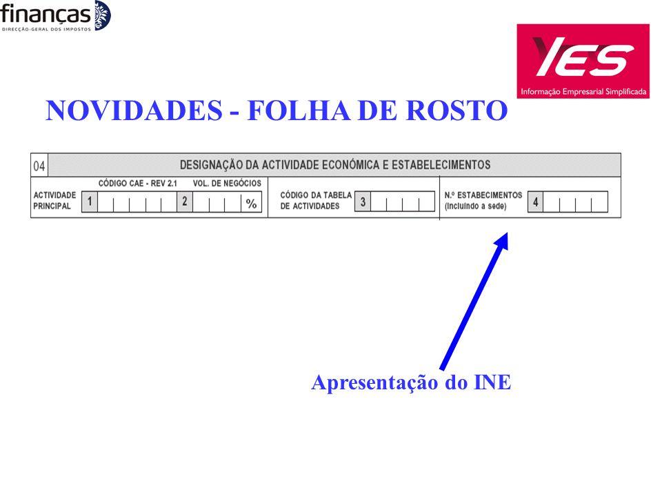NOVIDADES - FOLHA DE ROSTO Apresentação do INE