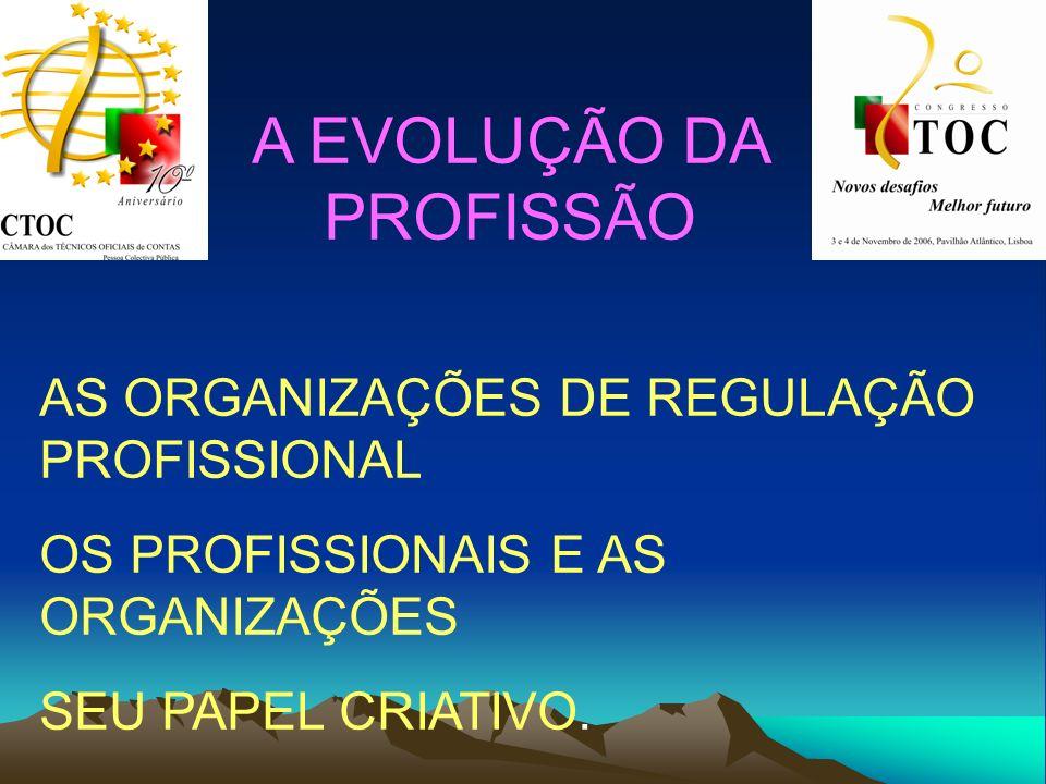 A EVOLUÇÃO DA PROFISSÃO AS ORGANIZAÇÕES DE REGULAÇÃO PROFISSIONAL OS PROFISSIONAIS E AS ORGANIZAÇÕES SEU PAPEL CRIATIVO.