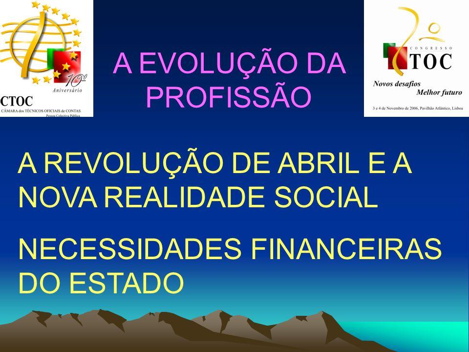 A EVOLUÇÃO DA PROFISSÃO A REVOLUÇÃO DE ABRIL E A NOVA REALIDADE SOCIAL NECESSIDADES FINANCEIRAS DO ESTADO