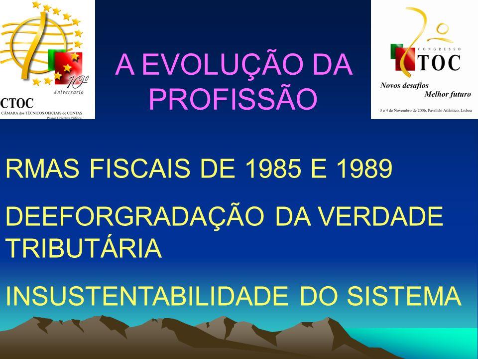 A EVOLUÇÃO DA PROFISSÃO RMAS FISCAIS DE 1985 E 1989 DEEFORGRADAÇÃO DA VERDADE TRIBUTÁRIA INSUSTENTABILIDADE DO SISTEMA