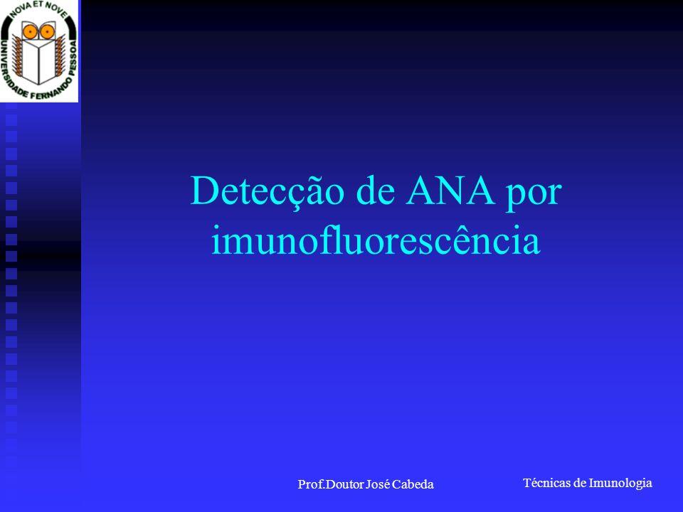 Técnicas de Imunologia Prof.Doutor José Cabeda Detecção de ANA por imunofluorescência