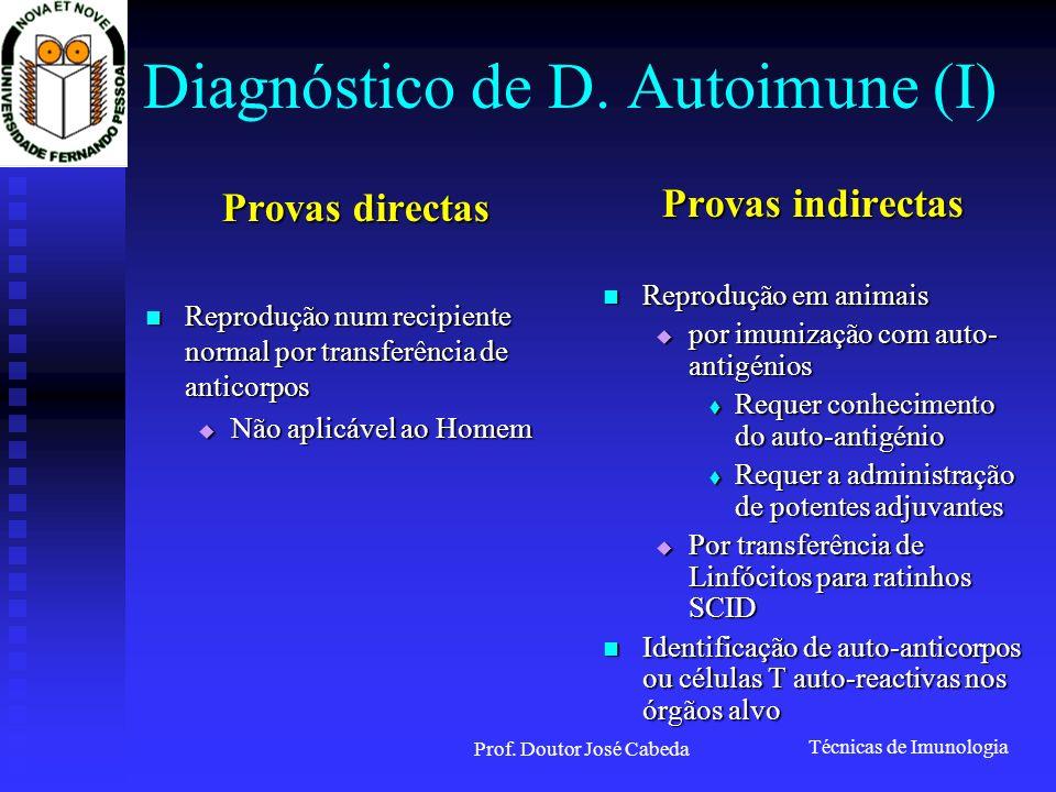Técnicas de Imunologia Prof. Doutor José Cabeda Diagnóstico de D. Autoimune (I) Provas directas Reprodução num recipiente normal por transferência de