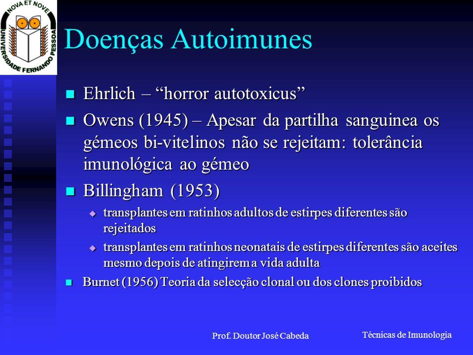 Técnicas de Imunologia Prof. Doutor José Cabeda Doenças Autoimunes Ehrlich – horror autotoxicus Ehrlich – horror autotoxicus Owens (1945) – Apesar da