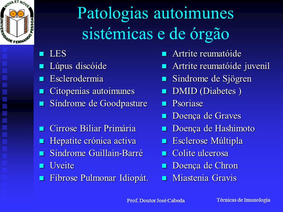 Técnicas de Imunologia Prof. Doutor José Cabeda Patologias autoimunes sistémicas e de órgão LES LES Lúpus discóide Lúpus discóide Esclerodermia Escler