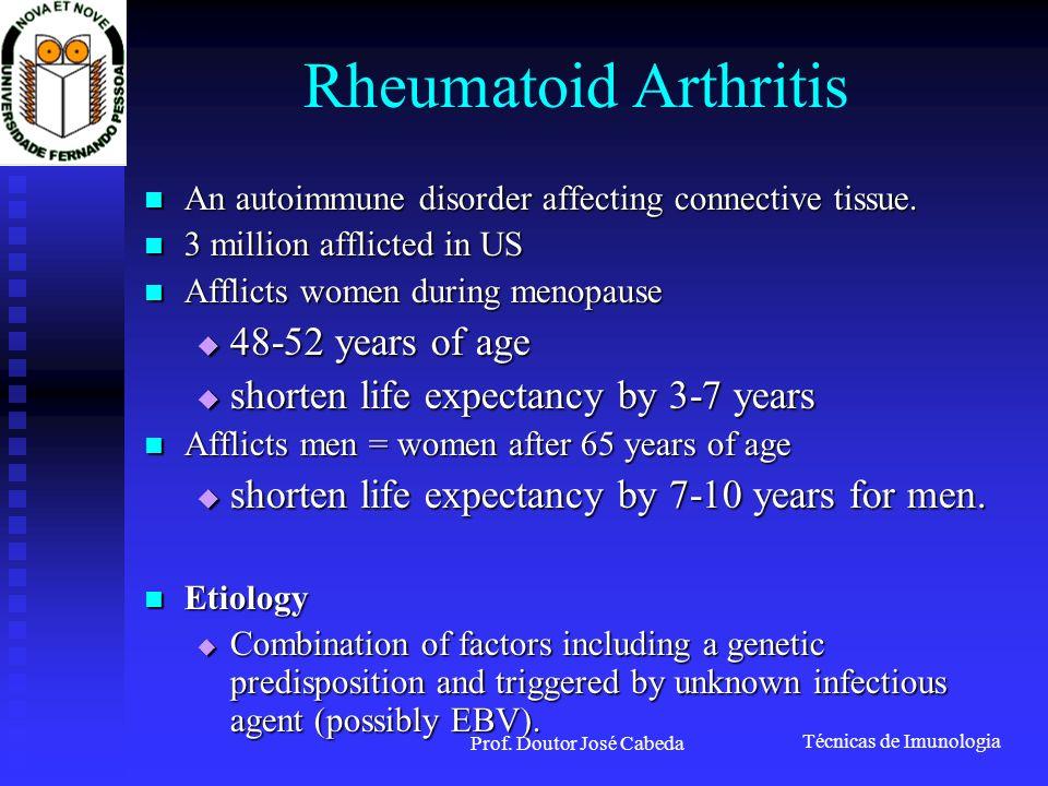 Técnicas de Imunologia Prof. Doutor José Cabeda Rheumatoid Arthritis An autoimmune disorder affecting connective tissue. An autoimmune disorder affect