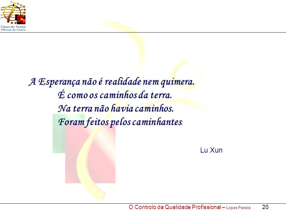 O Controlo da Qualidade Profissional – Lopes Pereira 20 A Esperança não é realidade nem quimera.