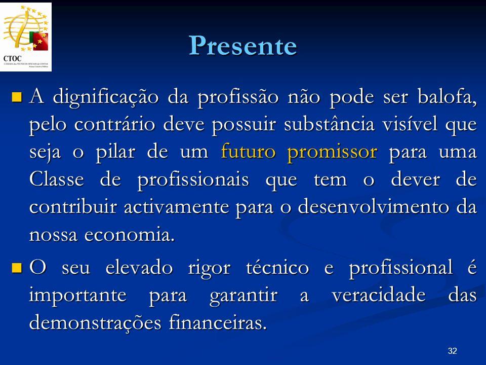 32 Presente A dignificação da profissão não pode ser balofa, pelo contrário deve possuir substância visível que seja o pilar de um futuro promissor pa