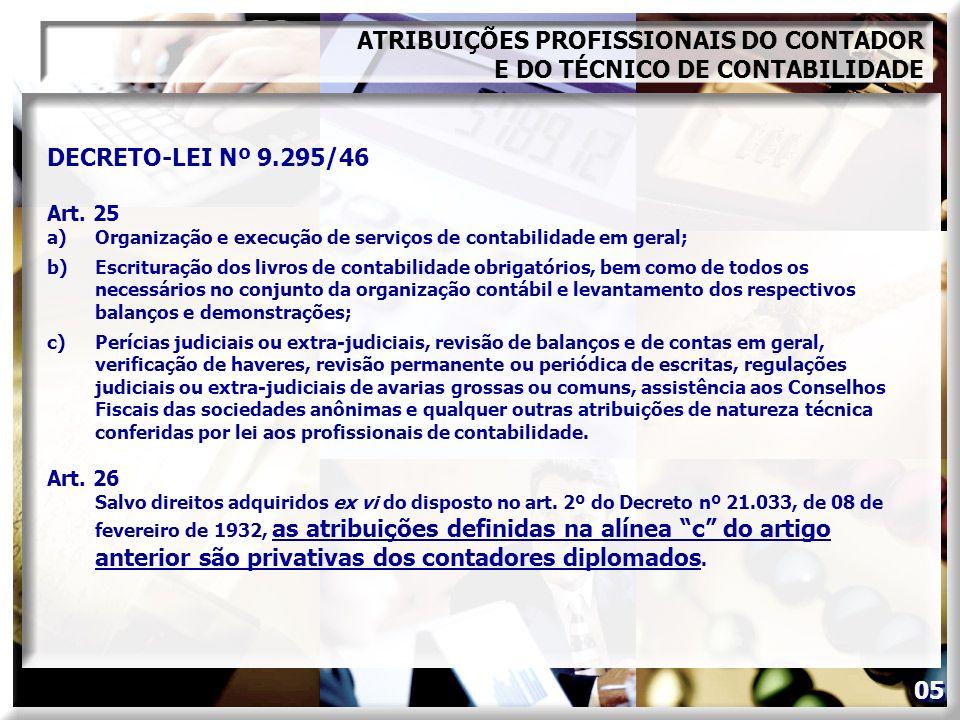 DECRETO-LEI Nº 9.295/46 Art. 25 a)Organização e execução de serviços de contabilidade em geral; b)Escrituração dos livros de contabilidade obrigatório