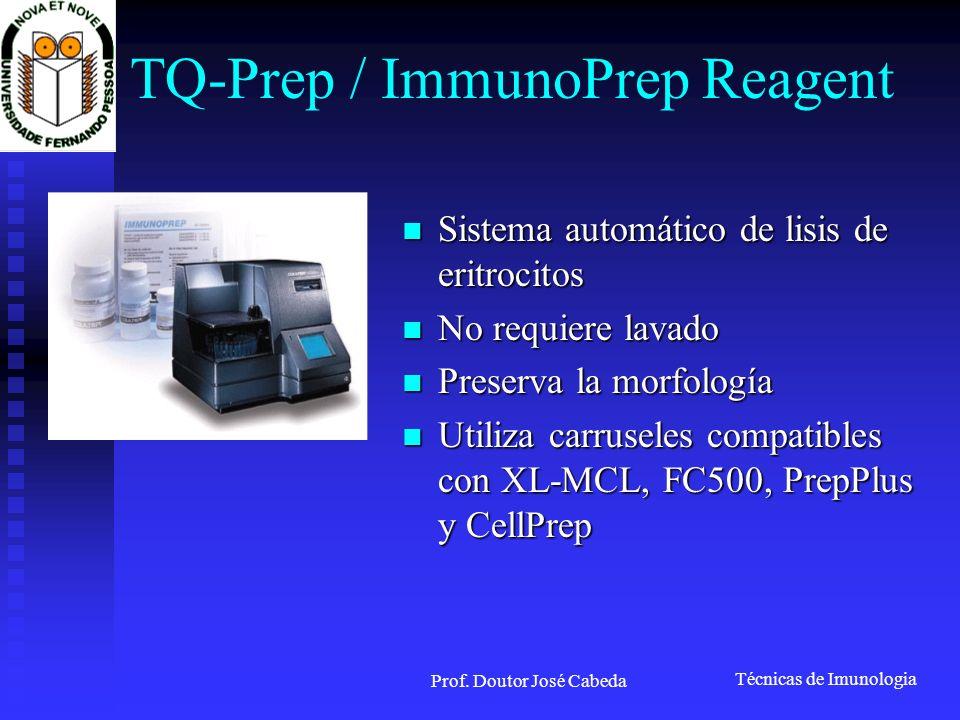 Técnicas de Imunologia Prof. Doutor José Cabeda TQ-Prep / ImmunoPrep Reagent Sistema automático de lisis de eritrocitos Sistema automático de lisis de
