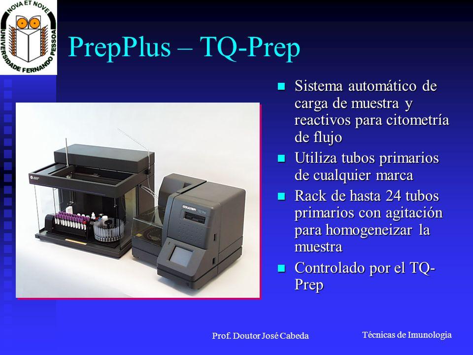 Técnicas de Imunologia Prof. Doutor José Cabeda PrepPlus – TQ-Prep Sistema automático de carga de muestra y reactivos para citometría de flujo Sistema
