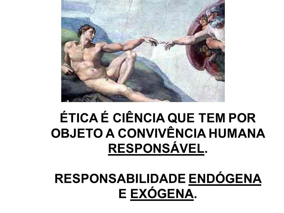 ÉTICA É CIÊNCIA QUE TEM POR OBJETO A CONVIVÊNCIA HUMANA RESPONSÁVEL. RESPONSABILIDADE ENDÓGENA E EXÓGENA.