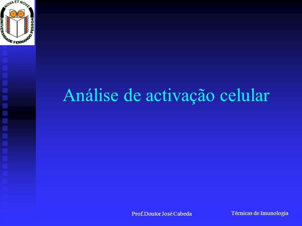 Técnicas de Imunologia Prof.Doutor José Cabeda Análise de activação celular