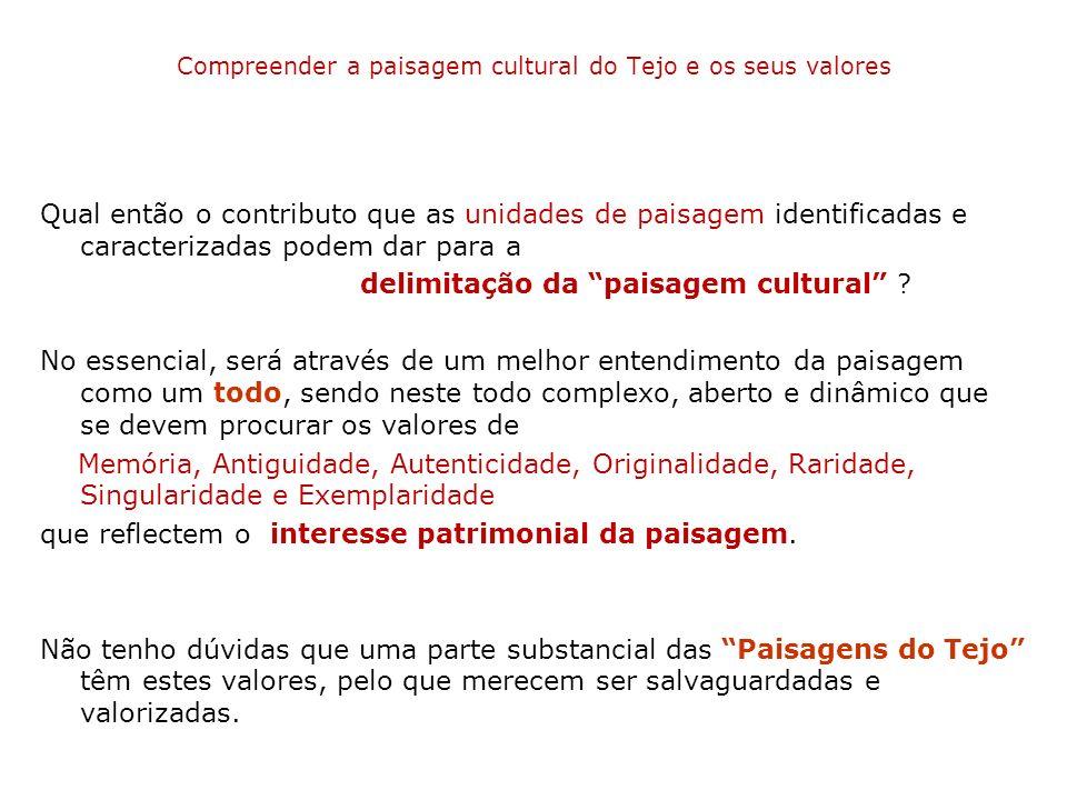 Compreender a paisagem cultural do Tejo e os seus valores Qual então o contributo que as unidades de paisagem identificadas e caracterizadas podem dar