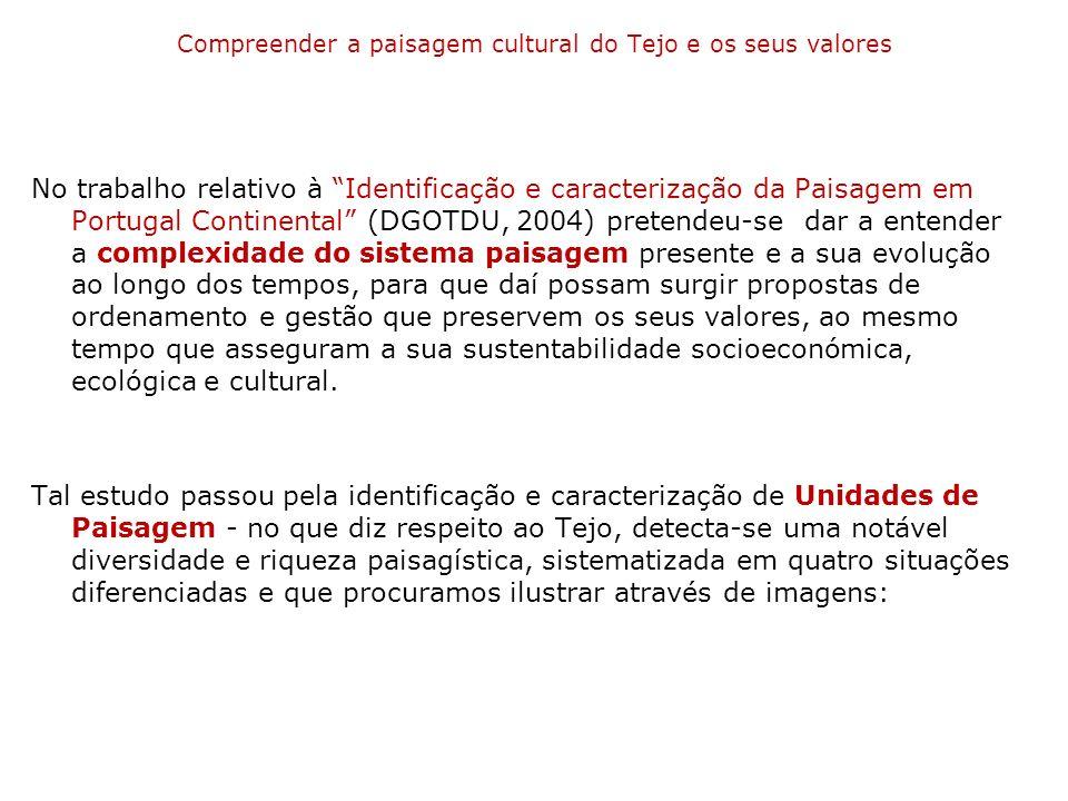 Compreender a paisagem cultural do Tejo e os seus valores No trabalho relativo à Identificação e caracterização da Paisagem em Portugal Continental (D