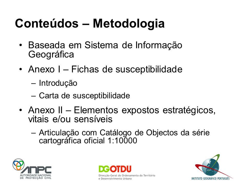 Baseada em Sistema de Informação Geográfica Anexo I – Fichas de susceptibilidade –Introdução –Carta de susceptibilidade Anexo II – Elementos expostos